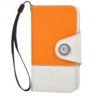 Protective PU Leather Case w/ Hand Strap for Iphone 4 / 4S - Orange + White