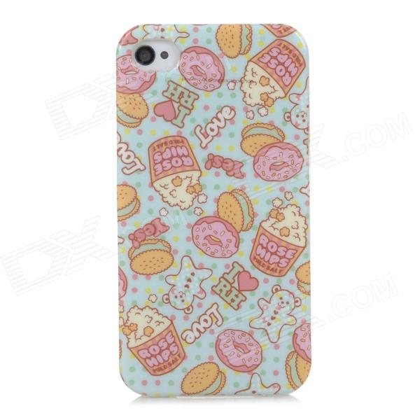 Protective Doughnut Cake Style Back Case for Iphone 4 / 4S - Light Blue + Pink + Transparent cute girl pattern protective rhinestone decoration back case for iphone 5 light pink light blue