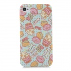 Protective Doughnut Cake Style Back Case for Iphone 4 / 4S - Light Blue + Pink + Transparent