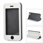 Stylish Flip-open PU Leather + PC Case w/ Holder for Iphone 5S - White + Black