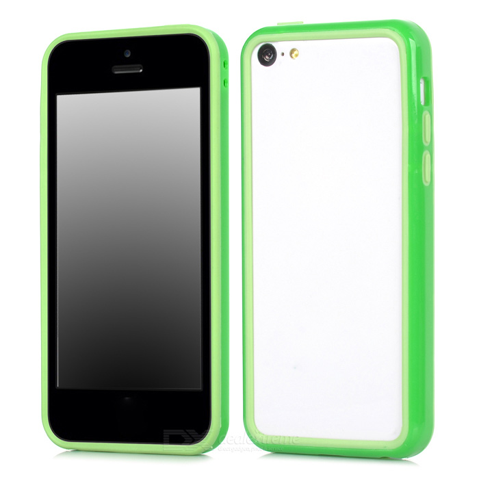 Protective TPU Bumper Frame for Iphone 5C - Green + Light Green protective tpu pc bumper frame for samsung galaxy s5 mini green