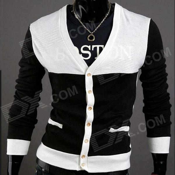MONSEDEN 735 Fashionable Personality Cardigan for Men - Black   ...