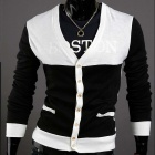 MONSEDEN 735 Fashionable Personality Cardigan for Men - Black + White (Size-XL)
