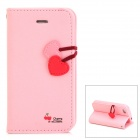 HELLO DEERE Cherry Series Protective PU Leather Case w/ Hand Strap for Iphone 4 - Pink