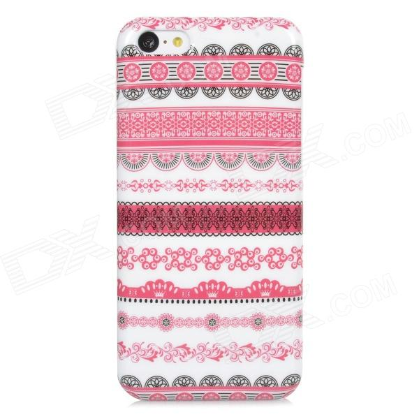 Fashion Tribal Style Plastic Case for Iphone 5C - White + Deep Pink + Black tribal ethnic style protective pu leather plastic case for iphone 5 deep pink black white