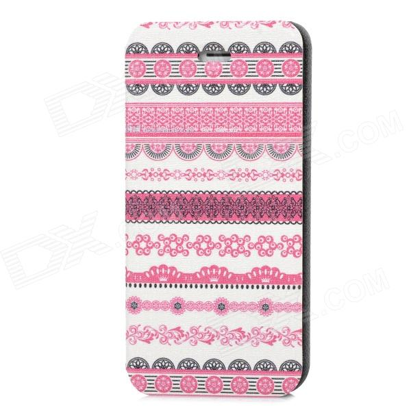 Fashion Tribal Style PU Leather Case for Iphone 5 - White + Deep Pink + Black tribal ethnic style protective pu leather plastic case for iphone 5 deep pink black white