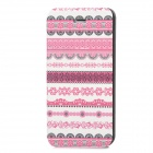 Fashion Tribal Style PU Leather Case for Iphone 5 - White + Deep Pink + Black