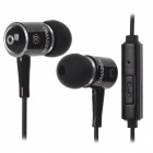 OMASEN OM-668 In-Ear Stereo Earphone w/ Microphone w/ Case for Iphone + Samsung - Black