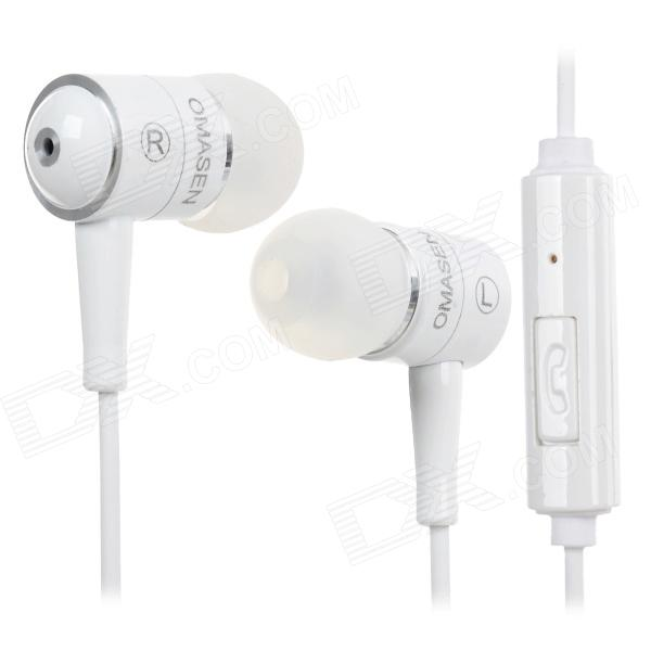 OMASEN OM-668 In-Ear Stereo Earphone w/ Microphone w/ Case for Iphone + Samsung - White omasen om78 stylish stereo earphone w microphone for iphone ipod htc samsung white 3 5mm