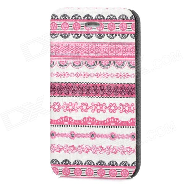 Fashion Tribal Style PU Leather Case for Iphone 4 / 4S - White + Deep Pink + Black tribal ethnic style protective pu leather plastic case for iphone 5 deep pink black white