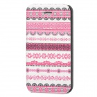 Fashion Tribal Style PU Leather Case for Iphone 4 / 4S - White + Deep Pink + Black