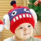 Fashion Robot Style Warm Woolen Yarn Hat for Children - Red + White + Deep Blue