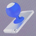 Mini Silicone Suction Cup Holder Speaker for Iphone + Ipad + More - Blue