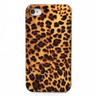 Joyroom Leopard Upholstered Protective Plastic Back Case for Iphone 4 / 4S - Yellow + Brown