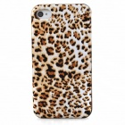 Joyroom Leopard Upholstered Protective Plastic Back Case for Iphone 4 / 4S - White + Brown