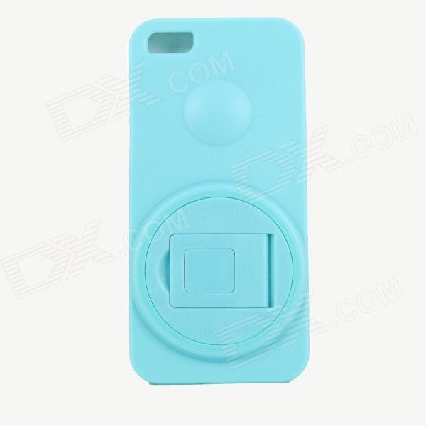 Protective PC + TPU Back Case Stand Holder for Iphone 5 - Light Blue protective pc tpu back case for iphone 5 w anti dust cover lavender purple