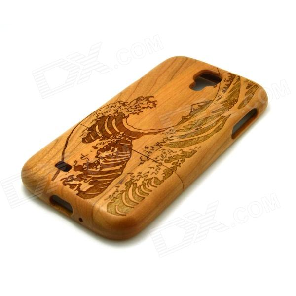 ZY-32 Wind Wave Pattern Detachable Protective Wooden Back Case for Samsung Galaxy S4 i9500 - Wood protective cute spots pattern back case for samsung galaxy s4 i9500 multicolored