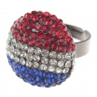 Fashionable France Flag Style Rhinestone Ring for Women - Deep Blue + Red + Rifle (UK Size 16)