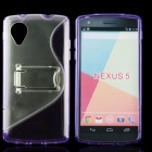 Protective TPU + PC Back Case w/ Stand for LG Nexus 5 - Purple + Transparent