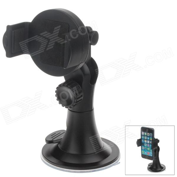 H08 360 Degree Rotation Car Swivel Suction Cup Mount Holder + Back Clip for Iphone 4 / 4S /5 - Black h08 360 rotation 4 port suction cup holder w silicone back clip for iphone 4 4s 5 ipad mini ipod