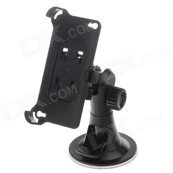 H08 360 Degree Rotation 4-Port Suction Cup Holder w/ Back Clip for Iphone 4 / 4S - Black
