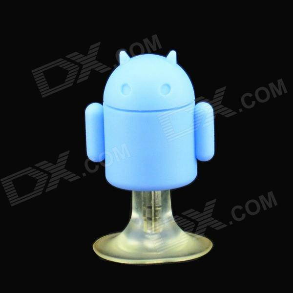 PZCD PZ-09 Android Robot 3.5mm Earphone Splitter + Suction Cup Stand for Cellphone - Blue boxwave gumball i mate jaq3 stand colorful gumball shaped suction cup stand for the i mate jaq3 anti slip smartphone stand tangerine orange