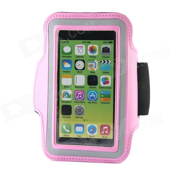 Protective Neoprene Sport Armband for Iphone 5S - Pink + Black + Silver Grey