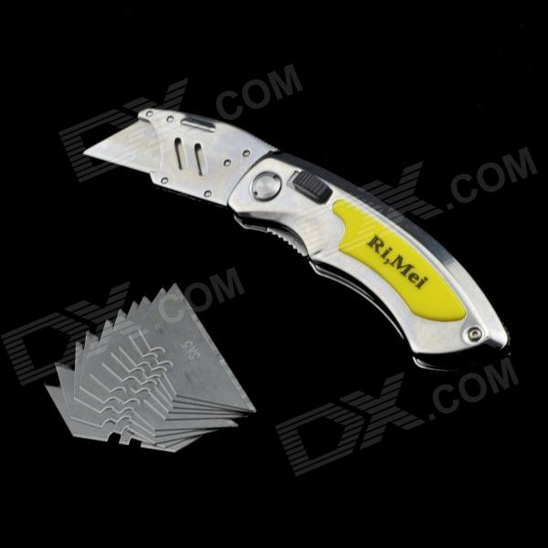 Rimei 5984 Foldable Stainless Steel Utility Knife - Silver + Yellow rimei 3013 handy durable stainless steel nailclippers w grinding pad silver