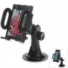"H08 Universal Car Suction Cup Mount Holder + C38 4.3 / 5.5"" Back Clip for Cell PHone, GPS - Black"