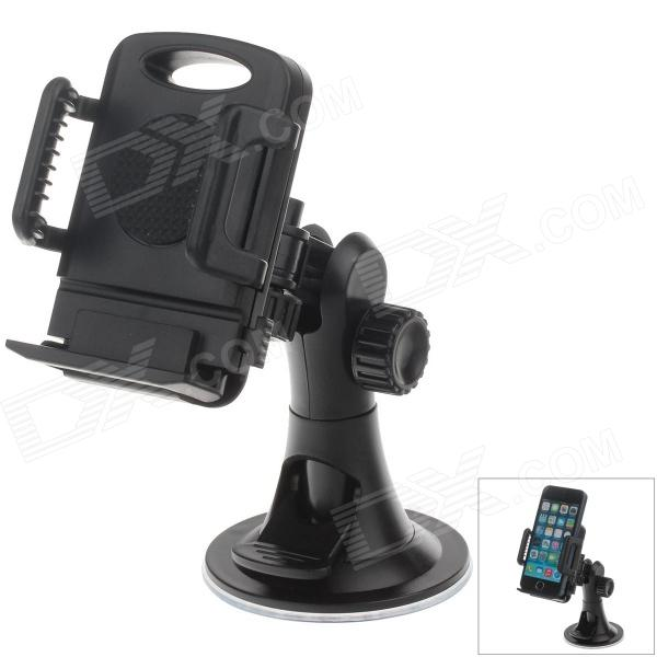 H08 Car Suction Cup 4-Port Holder + C66 4 / 5.5'' Back Clip for Cell Phone / MP5 / GPS - Black h08 360 rotation 4 port suction cup holder w silicone back clip for iphone 4 4s 5 ipad mini ipod