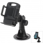 "H08 Car Suction Cup 4-Port Holder + C66 4"" / 5.5'' Back Clip for Cell Phone / MP5 / GPS - Black"