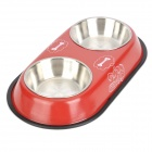 Doglemi Stainless Steel Double Bowls for Dog - Red