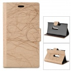 Flower Show Protective PU Case w/ Stand for Nokia N920 - Light Golden