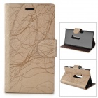 Flower Show Protective PU Case w/ Stand for Nokia N920 - Khaki