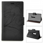 Flower Show Protective PU Case w/ Stand for Nokia N920 - Black