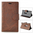 Flower Show Protective PU Case w/ Stand for Nokia N920 - Deep Coffee