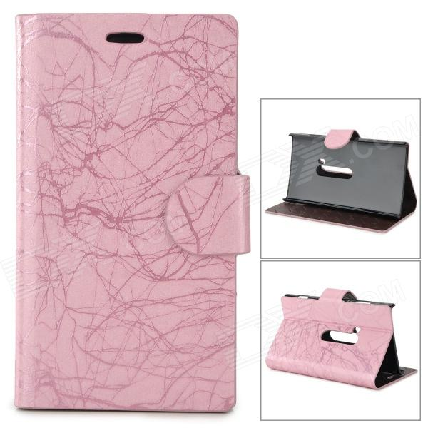 Flower Show Protective PU Case w/ Stand for Nokia N920 - Pink singfire us4 85525 us plug ac power adapter black dc 5 5 x 2 5mm 100 240v 98cm cable