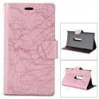 Flower Show Protective PU Case w/ Stand for Nokia N920 - Pink