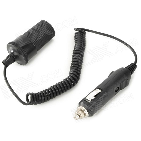 CZ-16 Car Cigarette Lighter Male to Female Power Extension Spring Cable - Black (32cm / 12~24V)