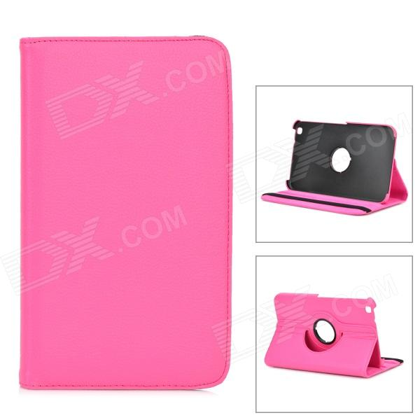 Lychee Grain Style Protective 360 Degree Rotation PU Leather Case for Samsung Tab 3 T310 - Deep Pink levett caesar prostate massager for 360 degree rotation g spot