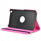 Lychee Grain Style Protective 360 Degree Rotation PU Leather Case for Samsung Tab 3 T310 - Deep Pink