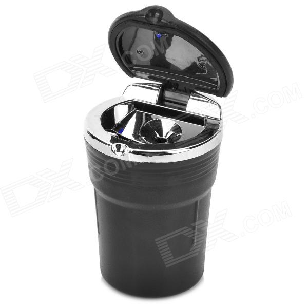 Ash Can Style Plastic Car Ashtray w/ LED - Black (1 x CR2012) ashtray
