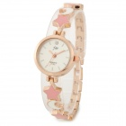 JW 1050JW-F269 Zinc Alloy Analog Quartz Wrist Watch for Women - White + Golden + Pink (1 x AG4)