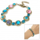 Woman's Gold Plating + Artificial Crystal Bracelet - Bronze + Green + Pink