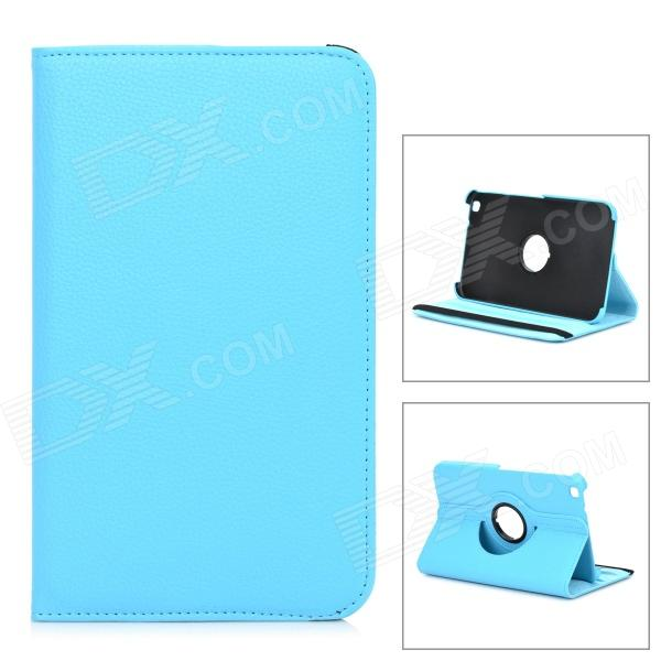 Lychee Grain Style Protective 360 Degree Rotation PU Leather Case for Samsung Tab 3 T310 - Blue lychee grain style protective 360 degree rotation pu leather case for asus 173 deep pink