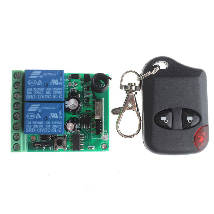 VGG07 2-CH Multi-Functional Wireless Remote Switch w/ Remote Controller - Green + Blue vgg11 12v 1 ch multi function wireless remote switch w controller black green