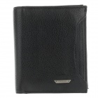 FUERDANNI 4456 Stylish Head layer Cowhide Folding Men's Wallet - Black