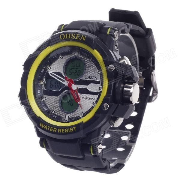 OHSEN AD1306 Stylish Multifunction Analog + Digital Display Waterproof Wrist Watch - Black + Yellow