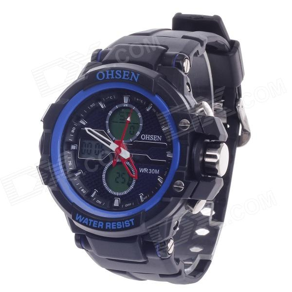 OHSEN AD1306 Fashion Multifunction Analog + Digital Display Waterproof Wrist Watch - Black + Blue
