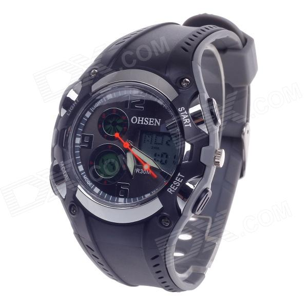 OHSEN AD1309 Fashion Multifunction Analog + Digital Display Waterproof Wrist Watch - Black + Grey